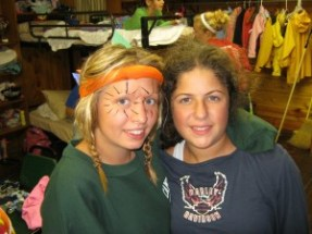 Dressing up for another skit was a typical occurrence at camp