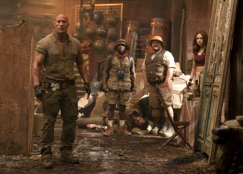 Dwayne Johnson, Kevin Hart , Jack Black and Karen Gillan star in JUMANJI: WELCOME TO THE JUNGLE