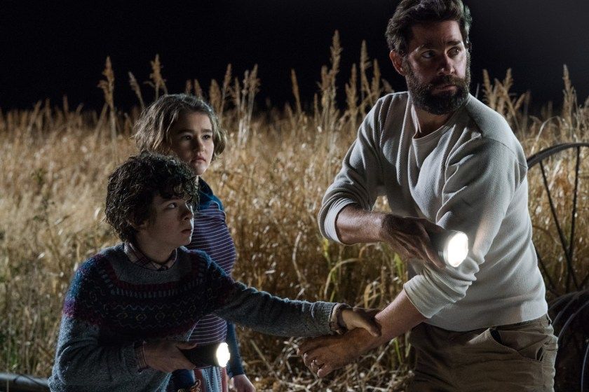 Left to right: Noah Jupe plays Marcus Abbott, Millicent Simmonds plays Regan Abbott and John Krasinski plays Lee Abbott in A QUIET PLACE. | Credit: United International Pictures