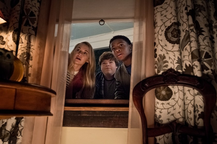 Madison Iseman (Sarah) Jeremy Ray Taylor (Sonny) Caleel Harris (Sam) in Goosebumps 2: Haunted Halloween.   Credit: Columbia Pictures