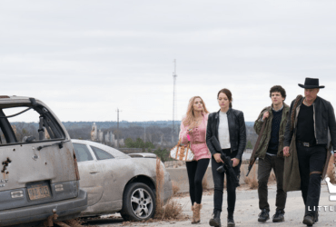 Columbus (Jesse Eisenberg), Tallahassee (Woody Harrelson), Wichita (Emma Stone) and Little Rock (Abigail Breslin) in Columbia PIctures' ZOMBIELAND: DOUBLE TAP.   The Little Binger