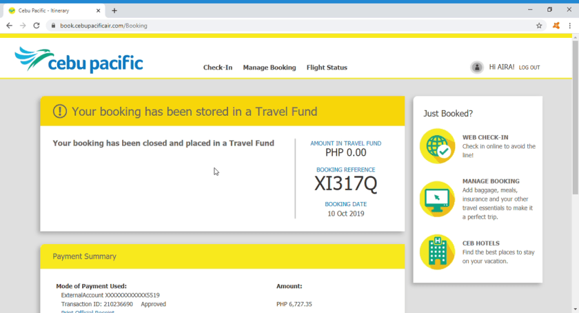 Now you have a Travel Fund | How I Converted My Cancelled Cebu Pacific Flights to Travel Fund | The Little Binger
