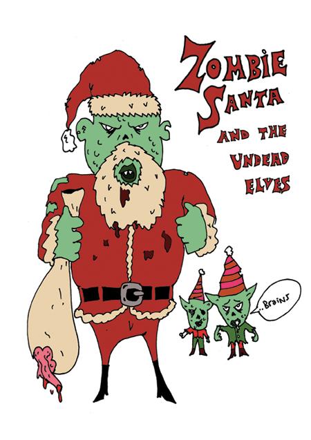 Mongsterr Zombie Santa Christmas Card