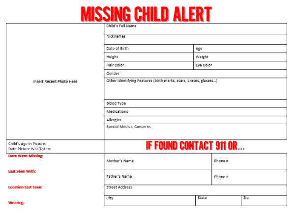 Free Child Safe Kit and Missing Child Alert Poster  ||  thelittledabbler.com