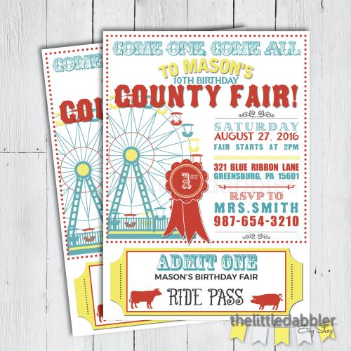 County Fair Invitation from thelittledabbler Etsy shop!