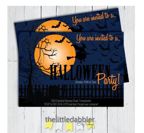 Custom Halloween Invitation from TheLittleDabbler Etsy Shop