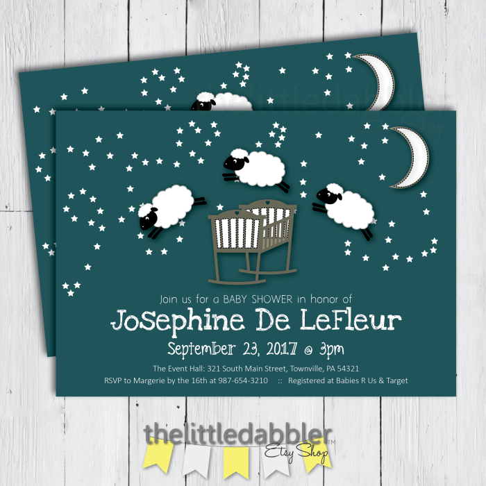 Counting Sheep Invitation from TheLittleDabbler Etsy Shop
