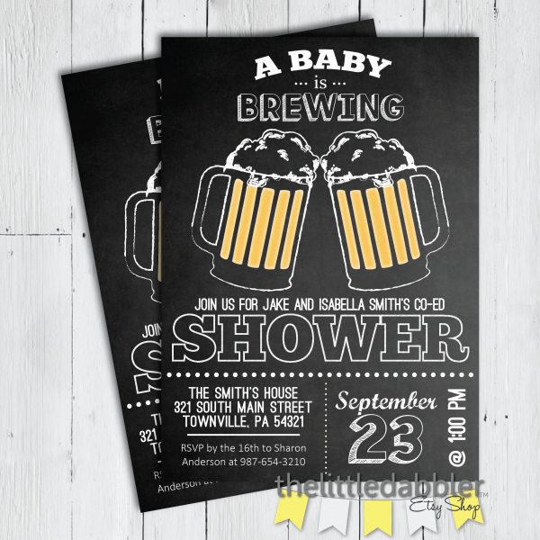 A Baby is Brewing Dad's Co Ed Baby Shower Invitation from TheLittleDabbler