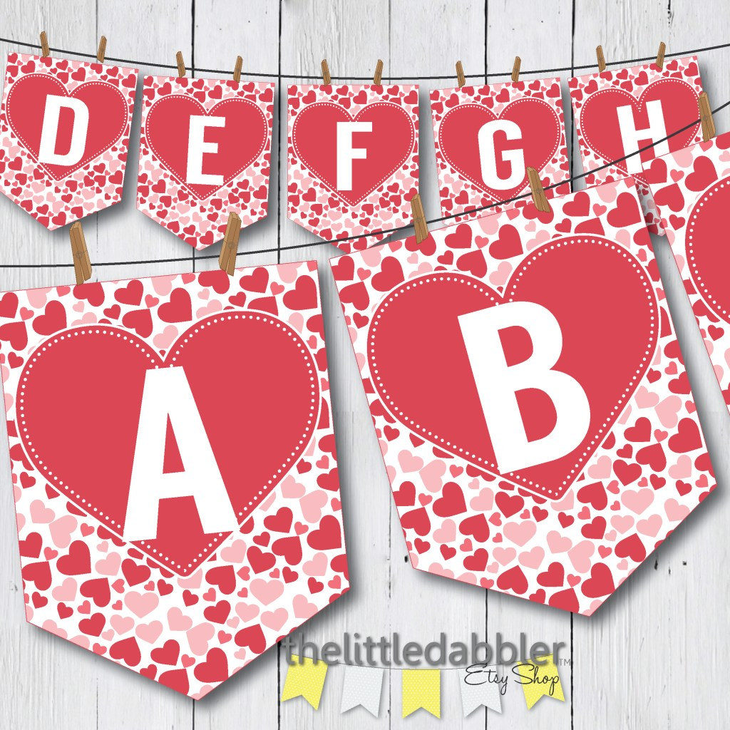 Valentine's Day Banner from TheLittleDabbler Etsy Shop