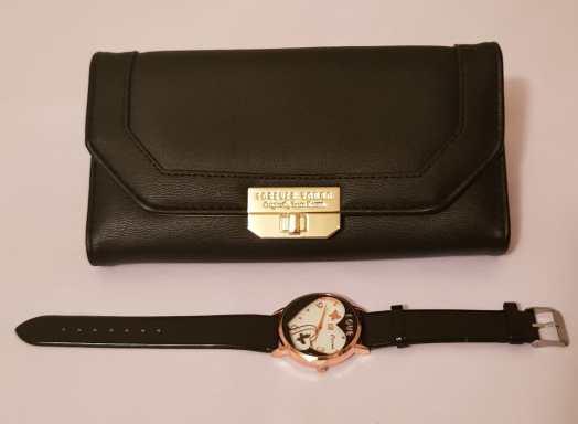 Stylish Black Purse and Watch Set - Buy Online