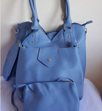 4 Piece Handbag Set Light Blue - Buy Online