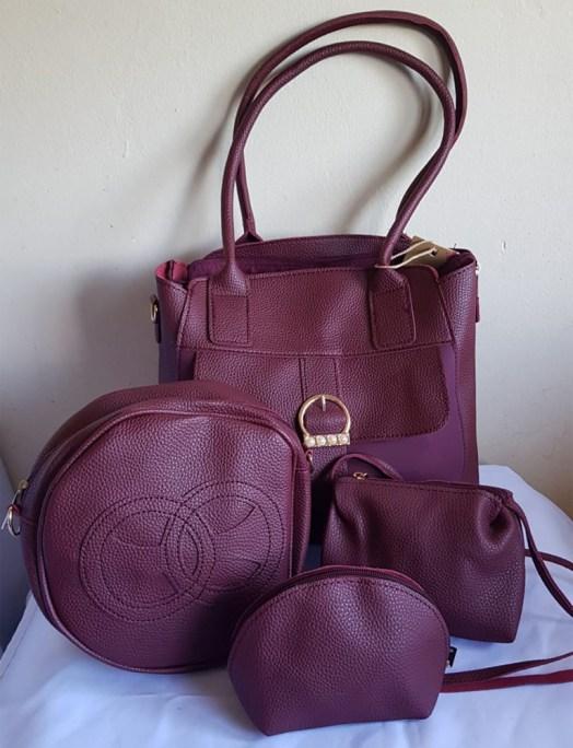 4 Piece Handbag Set Maroon - Buy Online