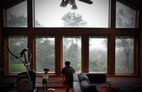Bailey and Matt watching the rain