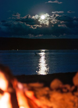 Blue Moon over Skaneateles Lake