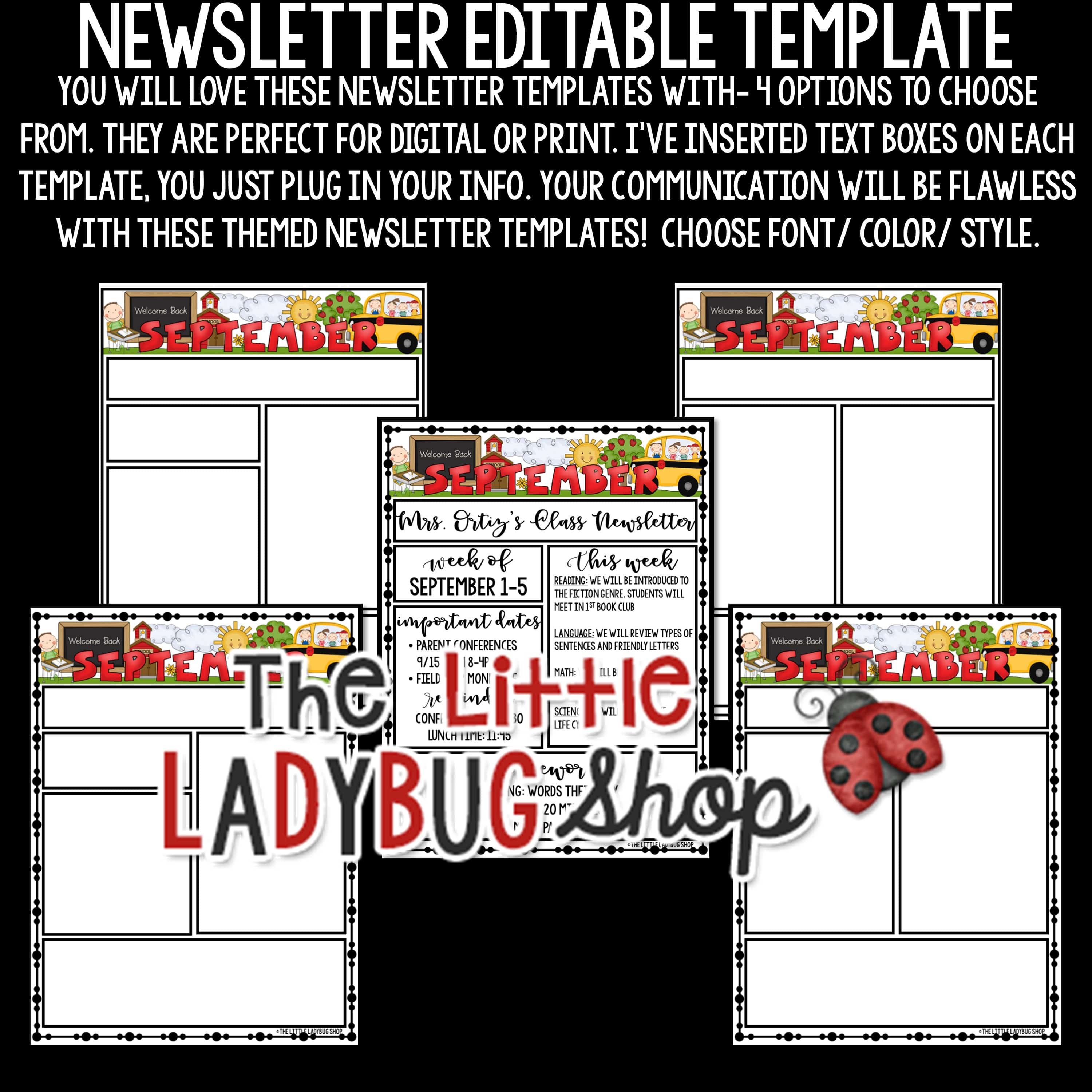 classroom newsletter template editable monthly weekly newsletter