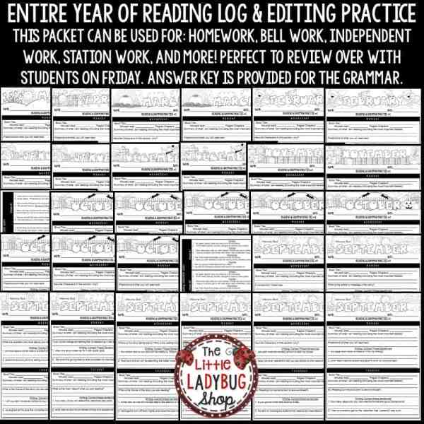 Reading Logs for Homework & Daily Grammar Practice 3rd Grade 4th Grade
