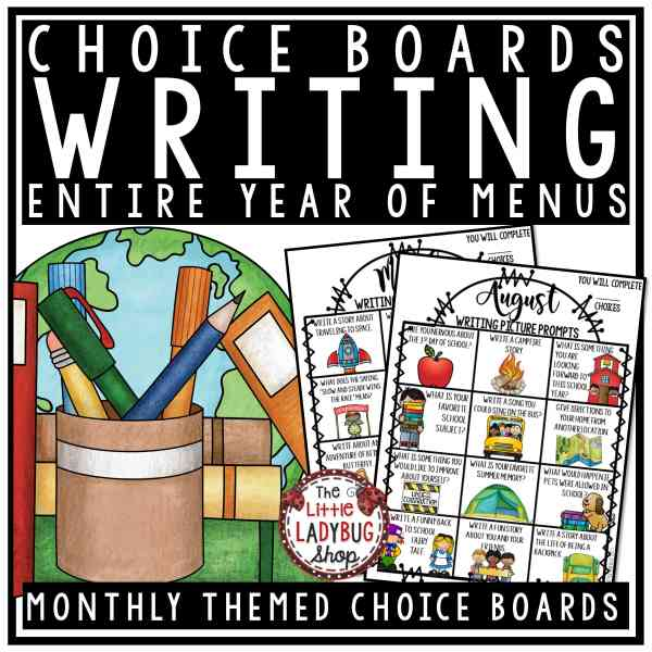 Literacy Choice Boards Bundle- Word Work Centers Reading Choice Boards & Writing Prompts 3rd Grade 4th Grade