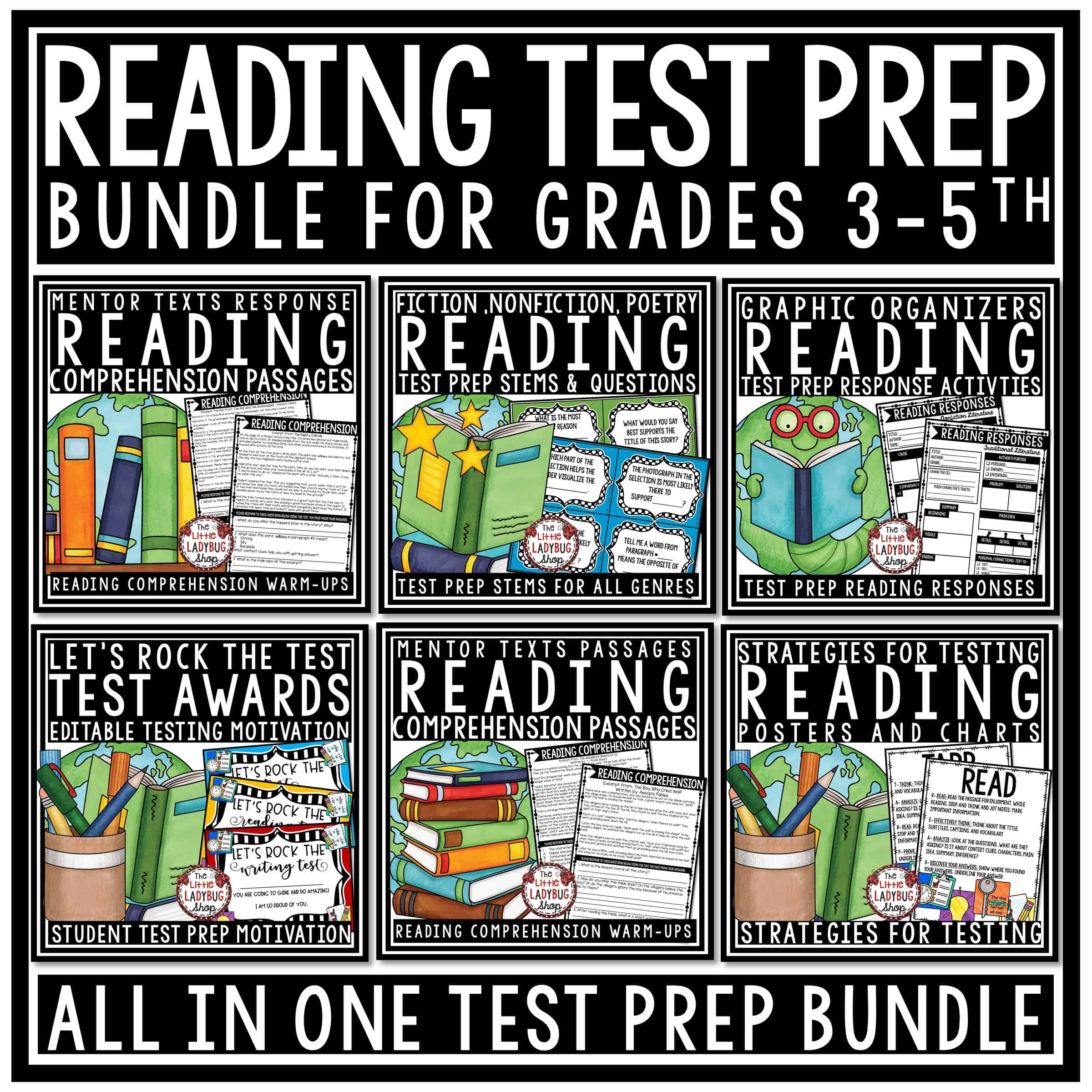 Reading Test Prep 3rd Grade 4th Grade Bundle