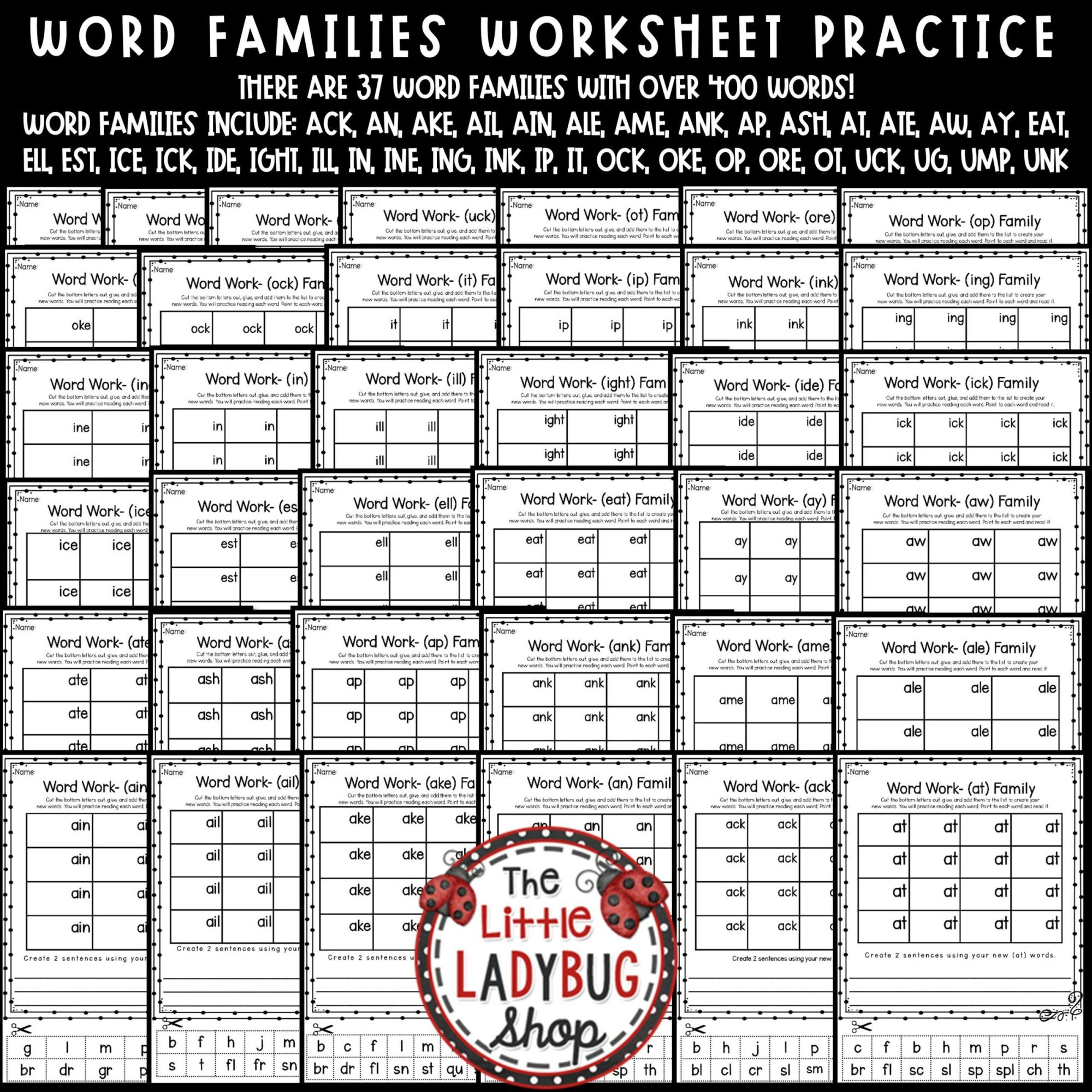 hight resolution of Word Families Activities 1st Grade
