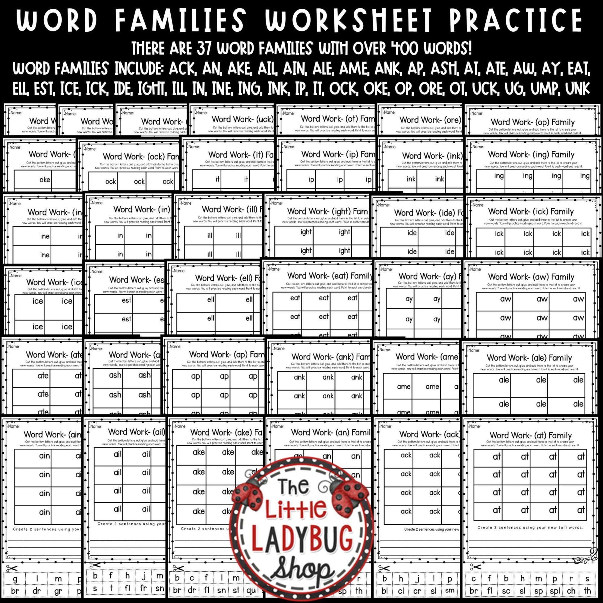 hight resolution of Word Families Activities 1st Grade