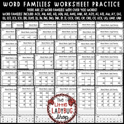 small resolution of Word Families Activities 1st Grade