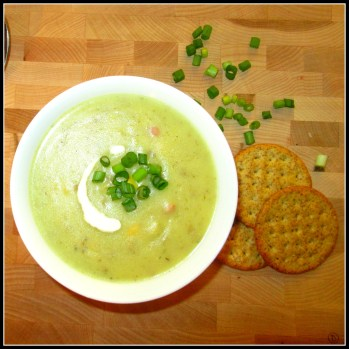 Bowl of Potato Leek Soup topped with Green onion