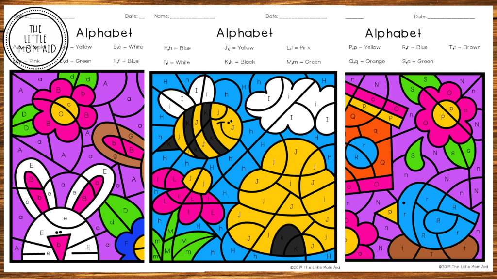 Spring Color by Letter, Spring Literacy Center, Letter Learning, Alphabet Activities