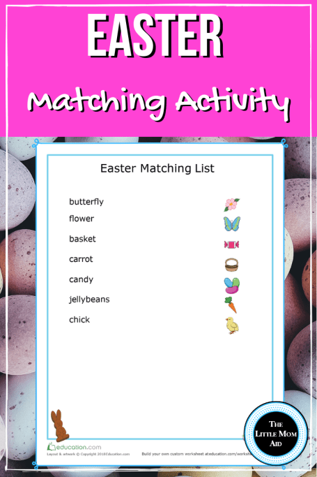 Easter Matching List for Preschoolers, Easter Matching List for Toddlers, Easter Educational Activity, Easter Learning, Easter Matching Activity for 3 to 5 tear olds