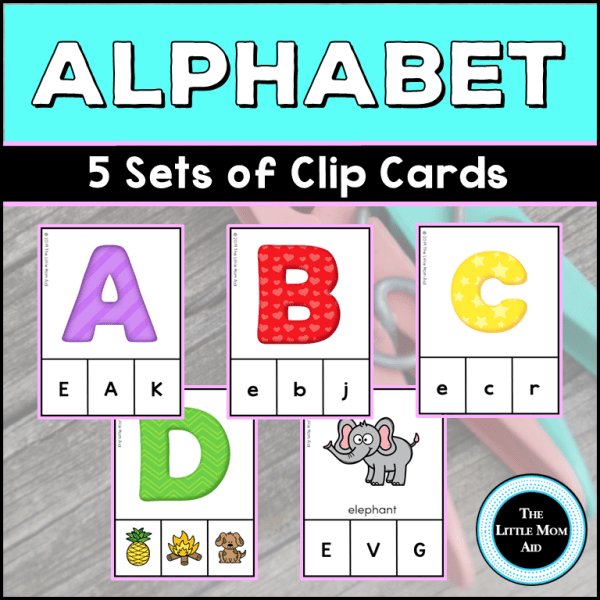 Alphabet Activity - Includes 5 Sets of Clip Cards
