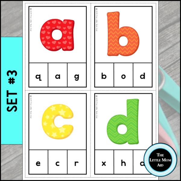 Alphabet Activities Preview of Set 3 Match Lowercase to Lowercase