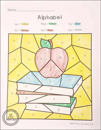 Back to School Color by Letter - Alphabet Coloring Pages for Back to School