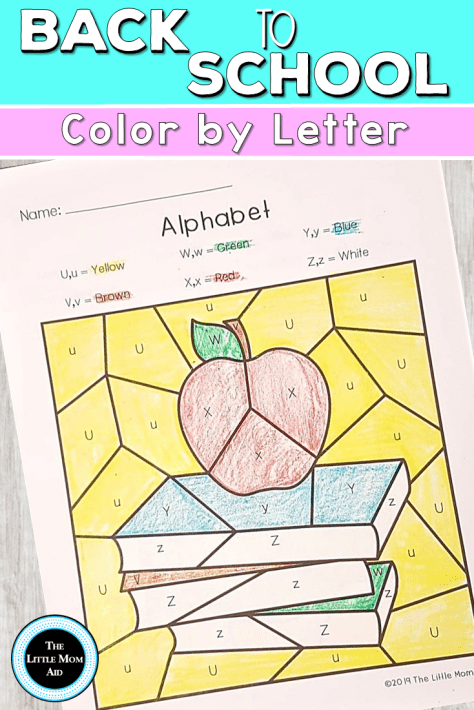 Back to School Color by Letter - Back to School Alphabet Activities
