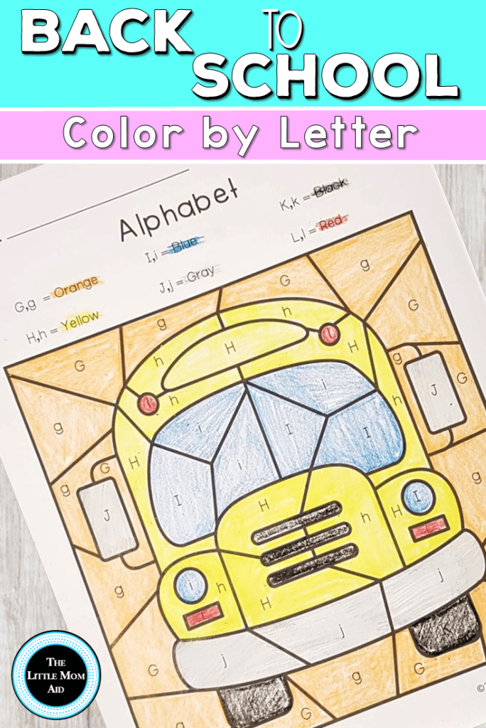 Back to School Color by Letter for Preschool and Kindergarten