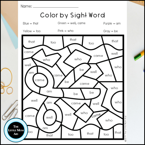 Back to School Color by Sight Word Kindergarten