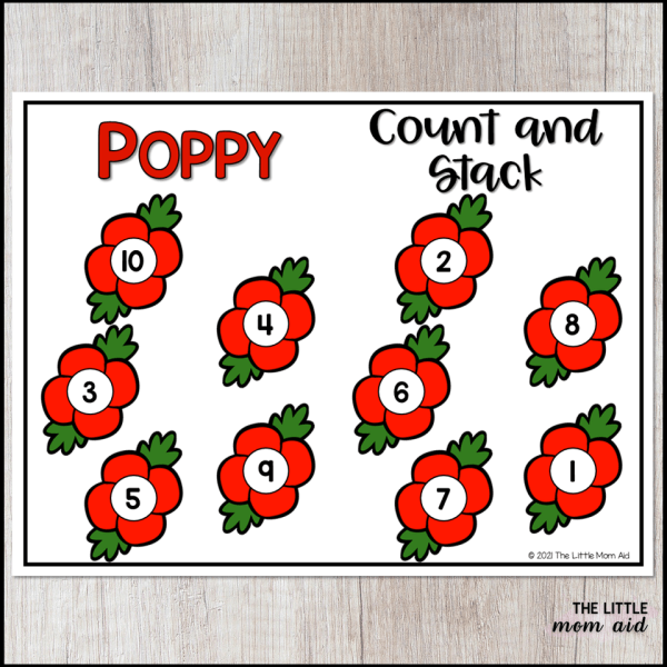 These poppy themed counting towers are great for preschool and kindergarten students to practice numbers, counting and 1:1 correspondence.