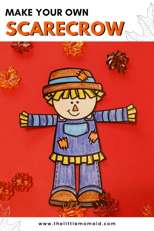 This build-a-scarecrow craft is a fun and easy activity for kids.  Simply color, cut and glue to make your own scarecrow craft.