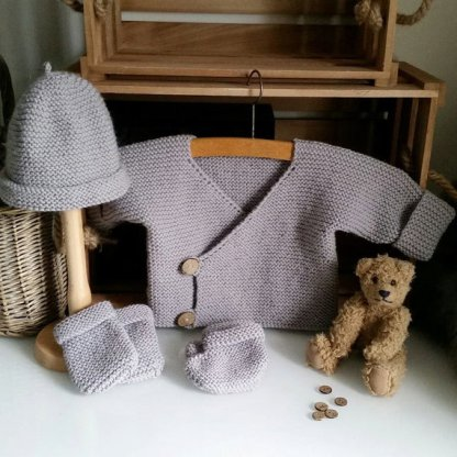 beginner's easy pram set knitting pattern