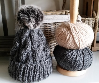 Chunky Cable Hat Grey