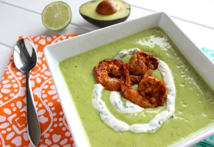 Chilled Avocado Soup with Shrimp