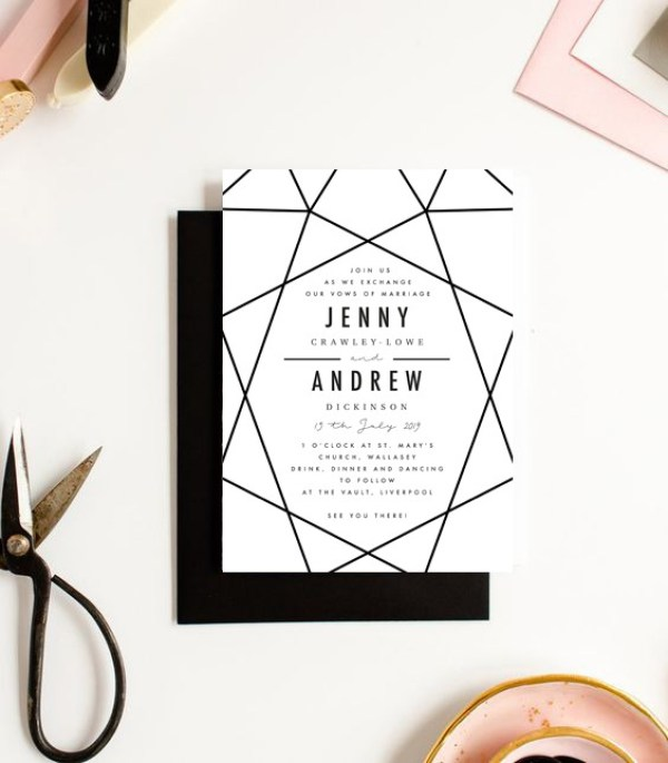 Bold geometric wedding stationery