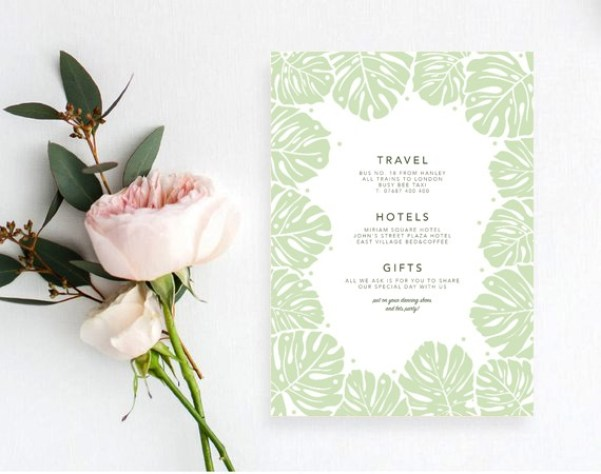 modern leaf print wedding stationery