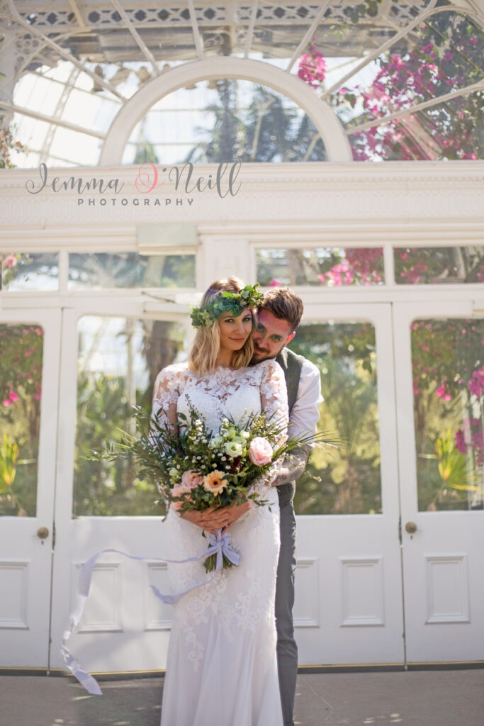 Bride and groom Sefton Park Palm House Wedding Liverpool