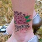 Vanessa's Live Sincerely pink peony tattoo