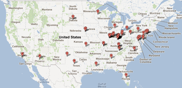 USA locations of The Live Sincerely Project pledges as of July 1, 2012