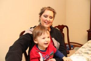 Vanessa holding her nephew Leo