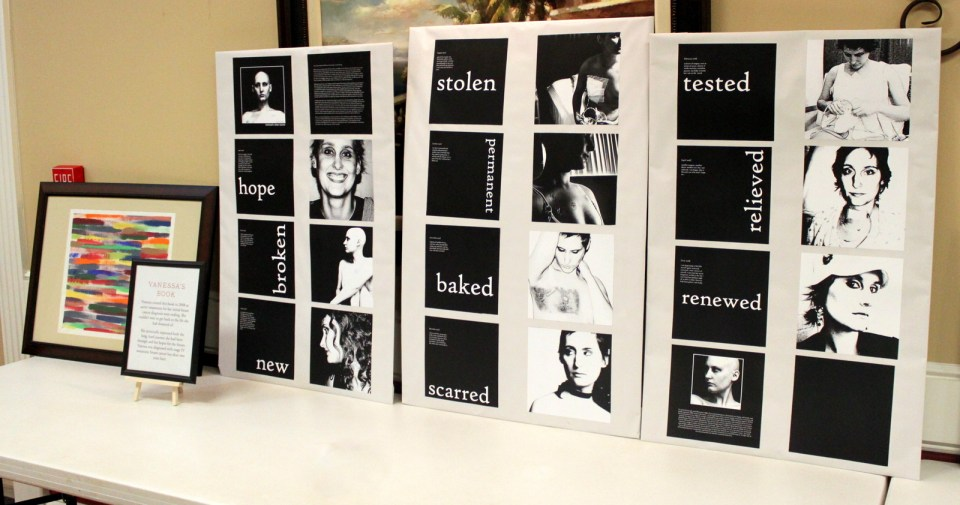 The pages of a book Vanessa designed when she had her period of remission (before the stage 4 diagnosis)
