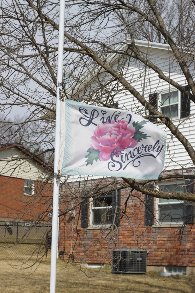 The afternoon of February 23, 2014 - Vanessa & Billy's house - Live Sincerely flag flying at half-mast