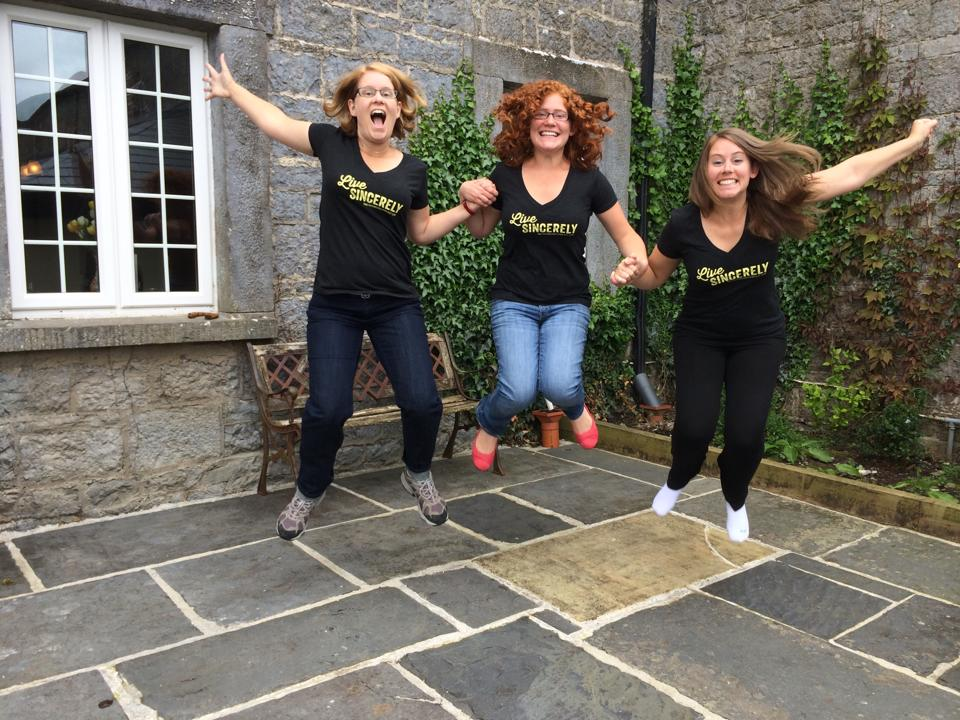 The Ami sisters (Claire, Eve and Grace) rocking their Live Sincerely shirts like a BOSS. Photo credit: Nora Ami.