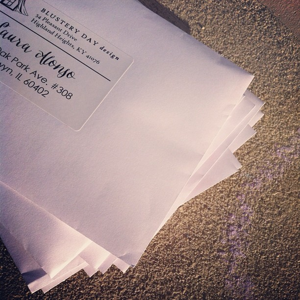 "March 2014: ""A whole stack of Vanessa stuffs ready to send out per request. (With addressee names in a calligraphy font because who doesn't like to see their own name all fancy!) To be loved by not only friends but also strangers in distant lands feels like quite the accomplishment for my little sister... Well done, love."""