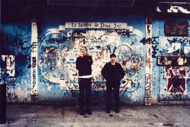 93 Ave B (where we lived and rehearsed in NYC). Michael Gira and Jarboe photo taken by Wim Van de Hulst